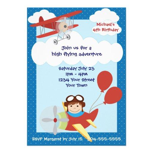 Personalized Transportation Invitations CustomInvitationsUcom - Airplane birthday invitation template