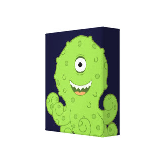 Kids Alien Octo Wrapped Canvas Art for Room
