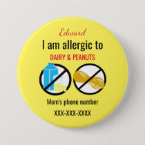 Kids Allergic to Peanuts and Dairy Personalized Button