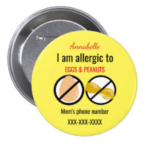 Kids Allergic to Peanuts and Eggs Personalized Button