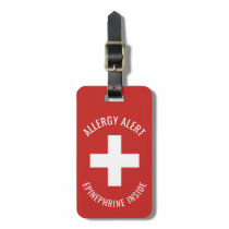 Kids Allergy Alert Epinephrine Inside Emergency Luggage Tag
