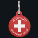 """Kids Allergy Alert Epinephrine Inside Emergency Pet ID Tag<br><div class=""""desc"""">Kids Allergy Alert Epinephrine Inside Emergency Contact Key Ring Tag. Front of tag has red background with a large white medical cross. Text reads ALLERGY ALERT. EPINEPHRINE INSIDE. Back side of tag has white background with room for child&#39;s name and phone number. Red font indicates SEVERE ALLERGIES. Customize to change...</div>"""