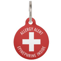Kids Allergy Alert Epinephrine Inside Emergency Pet ID Tag