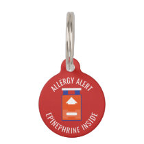 Kids Allergy Alert Epinephrine Inside Emergency Pet Name Tag