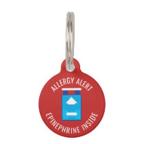Kids Allergy Alert Epinephrine Inside Emergency Pet Tag