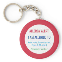 Kids Allergy Alert Personalized Allergic To Keychain