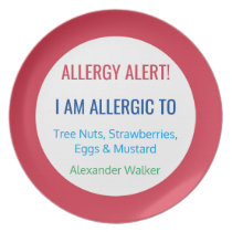 Kids Allergy Alert Personalized Red Allergic To Dinner Plate