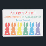 """Kids Allergy Alert Some Bunny Is Allergic To Cute Placemat<br><div class=""""desc"""">Some Bunny Is Allergic To Kids Allergy Alert Cute Double Sided Laminated Placemat. Great for keeping a safe area for food at school, daycare, home, out to eat or family gatherings. Red, orange, yellow, green, blue, and purple cute bunny silhouettes with fluffy white tails on this fun place mat. Front...</div>"""
