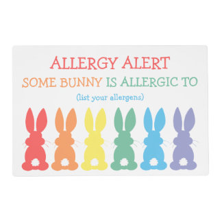 Kids Allergy Alert Some Bunny Is Allergic To Cute Placemat