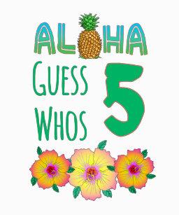Kids Aloha Tropical Luau 5 Years Old Birthday T Shirt