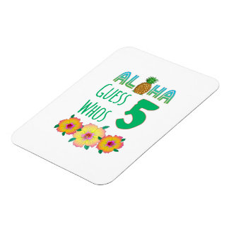 Kids Aloha Tropical Luau 6 Years Old Birthday Magnet