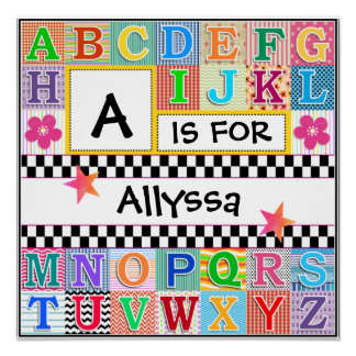 Kids Alphabet Art 16x16 Personalized Poster