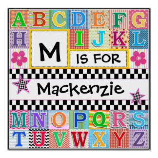 Kids Alphabet Art 24x24 Personalized Poster
