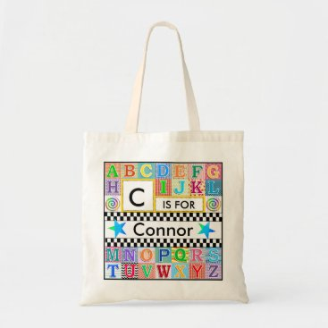Halloween Themed Kids Alphabet Art School Blue Star Tote Bag