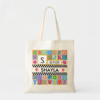 Kids Alphabet Art School Pink Star Tote Bag