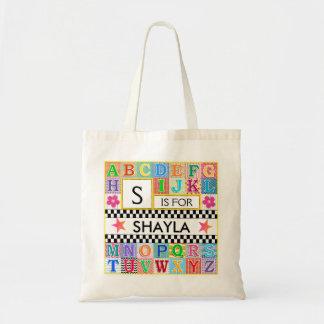Kids Alphabet Art School Pink Star Tote Bag