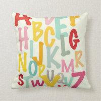Kids Alphabet Pattern Throw Pillow
