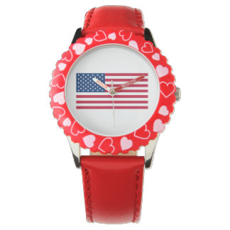 Kids' American Flag Watch, Adjustable Red Leather Wristwatch
