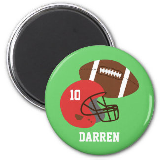 Kids American Football Helmet Name 2 Inch Round Magnet