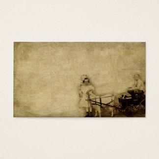 Kids And A Goat Cart- Prim Biz Cards