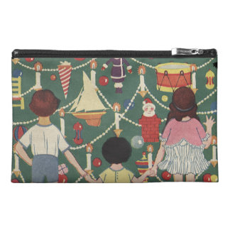 Kids and Christmas Tree - Vintage illustration Travel Accessories Bags