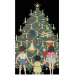 Kids and Christmas Tree - Vintage illustration Acrylic Cut Outs