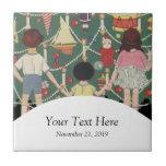 Kids and Christmas Tree - Vintage illustration Tile