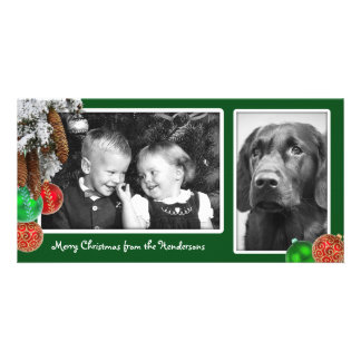 Kids and Dog Two Photo Christmas Card Photo Card