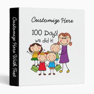 Kids and Female Teacher 100 Days 3 Ring Binder