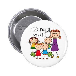 Kids and Female Teacher 100 Days 2 Inch Round Button