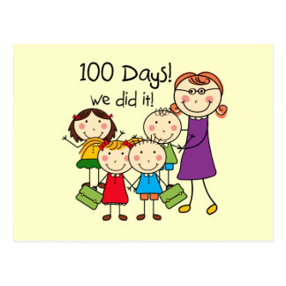 Kids and Female Teacher 100 Days Postcard