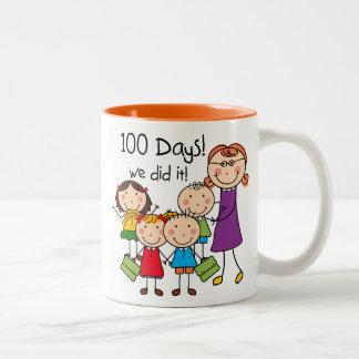 Kids and Female Teacher 100 Days Two-Tone Coffee Mug