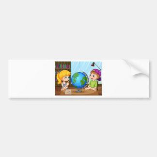 Kids and globe car bumper sticker