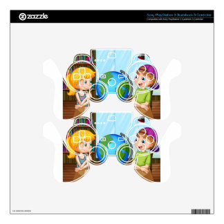 Kids and globe PS3 controller skin