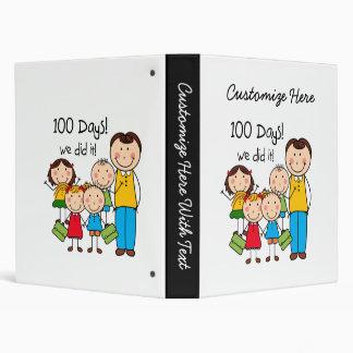 Kids and Male Teacher 100 Days 3 Ring Binder