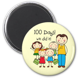 Kids and Male Teacher 100 Days Magnet