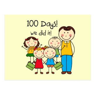Kids and Male Teacher 100 Days Postcard