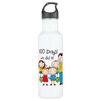 Kids and Male Teacher 100 Days Water Bottle