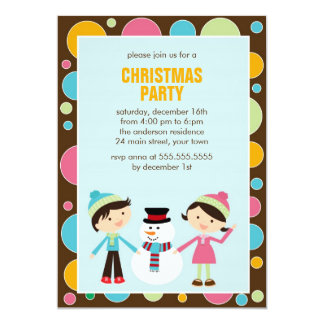 Kids and Snowman Christmas Party Card