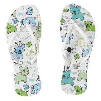 kids animal background pattern flip flops