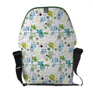 kids animal background pattern messenger bag