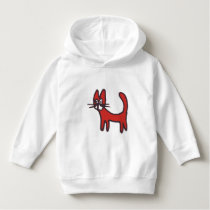 Kids Animal Hoodie - Red Cartoon Cat