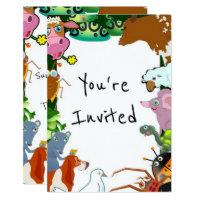 Zoo birthday party invitations announcements zazzle kids animals zoo creatures birthday party invite stopboris Image collections