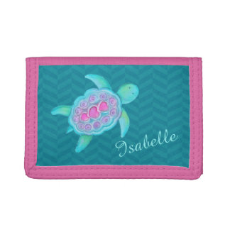 Kids aqua teal pink sea turtle add your name tri-fold wallet