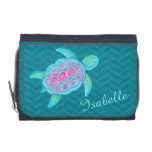 Kids aqua teal pink sea turtle add your name wallets