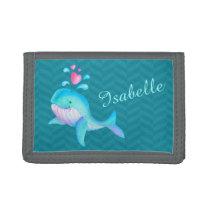 Kids aqua teal pink sea whale add your name tri-fold wallet