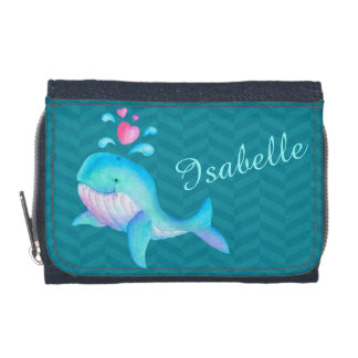 Kids aqua teal pink sea whale add your name wallets