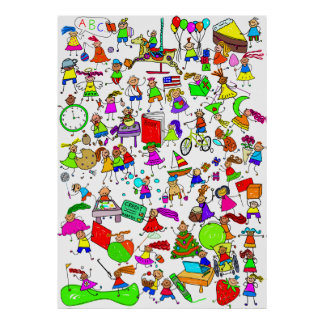 Kids Are Great Cute Cartoon Stick Figure Montage Poster