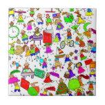 Kids Are Great Cute Cartoon Stick Figure Montage Ceramic Tile