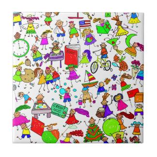 Kids Are Great Cute Cartoon Stick Figure Montage Tile